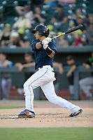 Catcher Juan Uriarte (17) of the Columbia Fireflies bats in a game against the Augusta GreenJackets on Saturday, June 1, 2019, at Segra Park in Columbia, South Carolina. Columbia won, 3-2. (Tom Priddy/Four Seam Images)