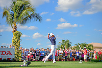 Rickie Fowler (USA) watches his tee shot on 13 during round 3 of the Honda Classic, PGA National, Palm Beach Gardens, West Palm Beach, Florida, USA. 2/25/2017.<br /> Picture: Golffile | Ken Murray<br /> <br /> <br /> All photo usage must carry mandatory copyright credit (&copy; Golffile | Ken Murray)