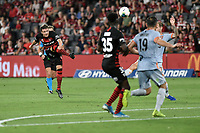 1st January 2020; Bankwest Stadium, Parramatta, New South Wales, Australia; Australian A League football, Western Sydney Wanderers versus Brisbane Roar;  Nicolai Muller of Western Sydney Wanderers takes long a shot on goal - Editorial Use