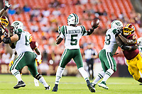 Landover, MD - August 16, 2018: New York Jets quarterback Teddy Bridgewater (5) throws from the pocket during preseason game between the New York Jets and Washington Redskins at FedEx Field in Landover, MD. (Photo by Phillip Peters/Media Images International)