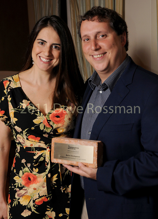 """Winner Bryan Danna and his wife Becky representing Revive Development at Preservation Houston's """"The Cornerstone Dinner""""  presenting the 2018 Good Brick Awards at the River Oaks Country Club Friday March 02,2018. (Dave Rossman Photo)"""