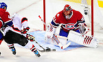 9 January 2010: Montreal Canadiens' goaltender Jaroslav Halak makes a third period save against the New Jersey Devils at the Bell Centre in Montreal, Quebec, Canada. The Devils edged out the Canadiens 2-1 in overtime. Mandatory Credit: Ed Wolfstein Photo