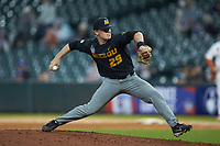 Missouri Tigers relief pitcher Shane Wilhelm (29) in action against the Texas Longhorns in game eight of the 2020 Shriners Hospitals for Children College Classic at Minute Maid Park on March 1, 2020 in Houston, Texas. The Tigers defeated the Longhorns 9-8. (Brian Westerholt/Four Seam Images)