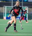 AMSTELVEEN - Lina van Drunen (Adam)   tijdens de hoofdklasse hockeywedstrijd dames,  Amsterdam-Oranje Rood (2-2) .   COPYRIGHT KOEN SUYK