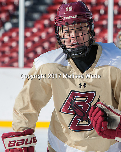 Kenzie Kent (BC - 12) - The Boston College Eagles practiced at Fenway on Monday, January 9, 2017, in Boston, Massachusetts.Kenzie Kent (BC - 12) - The Boston College Eagles practiced at Fenway on Monday, January 9, 2017, in Boston, Massachusetts.
