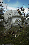 A water tower was blown down after Hurricane Charley made a surprise turn and headed inland towards Orlando.
