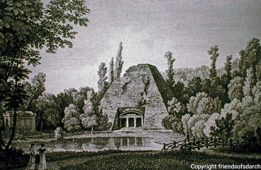 The Chateau of Maupertuis, the pyramid, c. 1780 (engraving by Mme Massard)