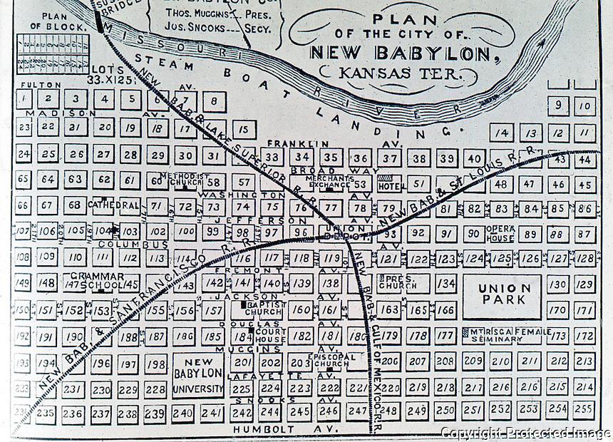 "Utopia:  ""New Babylon, Kansas Ter. "" Plan of city on paper. REPS, MAKING OF URBAN AMERICA, fig. 218."