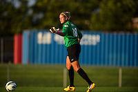 Washington Spirit goalkeeper Chantel Jones (18). Sky Blue FC defeated the Washington Spirit 1-0 during a National Women's Soccer League (NWSL) match at Yurcak Field in Piscataway, NJ, on August 3, 2013.