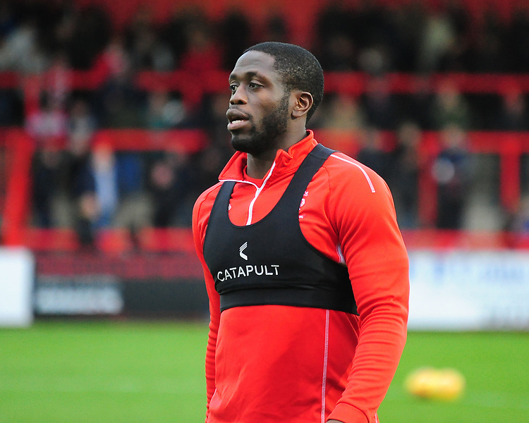 Lincoln City's John Akinde during the pre-match warm-up<br /> <br /> Photographer Andrew Vaughan/CameraSport<br /> <br /> The EFL Sky Bet League Two - Stevenage v Lincoln City - Saturday 8th December 2018 - The Lamex Stadium - Stevenage<br /> <br /> World Copyright © 2018 CameraSport. All rights reserved. 43 Linden Ave. Countesthorpe. Leicester. England. LE8 5PG - Tel: +44 (0) 116 277 4147 - admin@camerasport.com - www.camerasport.com