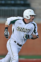 Designated hitter Drew Ober (18) of the Charlotte 49ers runs toward first in a game against the Fairfield Stags on Saturday, March 12, 2016, at Hayes Stadium in Charlotte, North Carolina. (Tom Priddy/Four Seam Images)