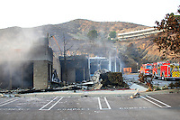 The Presbyterian church was totally burned and damaged in Malibu, California October 21, 2007. The wildfire fanned by powerful winds burned out of control on Sunday in the celebrity seaside enclave of  Malibu, forcing hundreds of people to flee and destroying a handful of multimillion-dollar homes. Photo by Nina Prommer/Milestone Photo.