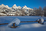 Grand Teton National Park, WY <br /> Snow capped fence line with the peaks of the Teton range in winter dawn light