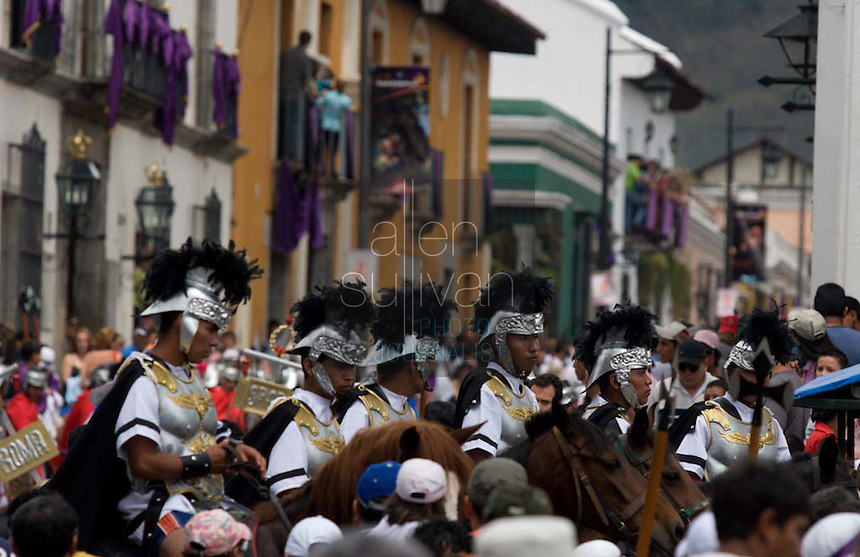 Riders on horseback depicting Roman soldiers during the Penance of Jesus procession.