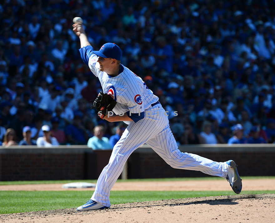 Chicago Cubs Trevor Cahill (53) during a game against the Pittsburgh Pirates on June 17, 2016 at Wrigley Field in Chicago, IL. The Cubs beat the Pirates 6-0.