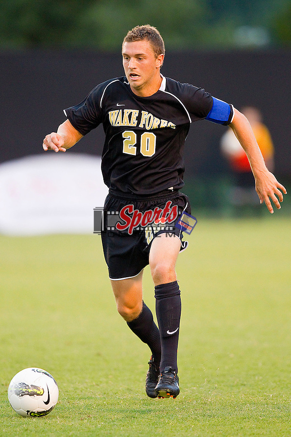 Wake Forest Demon Deacons captain Danny Wenzel #20 dribbles the ball against the Oregon State Beavers at Spry Soccer Stadium on September 4, 2011 in Winston-Salem, North Carolina.  The Demon Deacons and the Beavers played to a 0-0 tie.  (Brian Westerholt / Sports On Film)