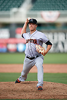 Jupiter Hammerheads relief pitcher Steven Farnworth (23) delivers a pitch during a game against the Fort Myers Miracle on April 9, 2017 at CenturyLink Sports Complex in Fort Myers, Florida.  Jupiter defeated Fort Myers 3-2.  (Mike Janes/Four Seam Images)