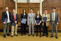 The Recipients of the 2018 Yale College Faculty Prizes for Distinguished Undergraduate Teaching with Yale College Dean Marvin Chun. Awards Ceremony and Reception at the Sterling Library Memorabilia Room May 7, 2018