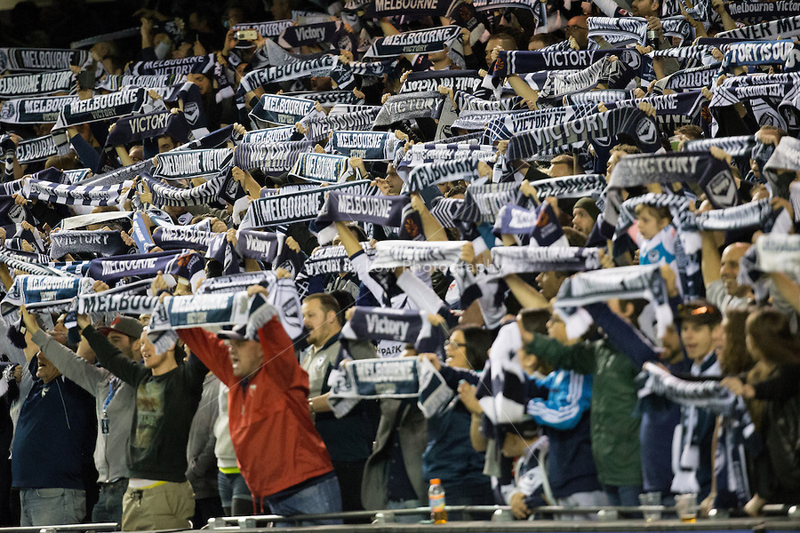 Melbourne Victory supporters cheer on their team in the semi final match between Melbourne Victory and Melbourne City in the Australian Hyundai A-League 2015 season at Etihad Stadium, Melbourne, Australia.<br />