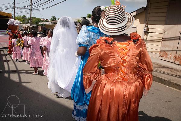 Tobago Heritage Festival, Moriah ole time wedding parade. Bride and bridesmaids guest behind