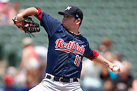 Memphis Redbirds pitcher Nick Additon #11 delivers during the Pacific Coast League baseball game against the Round Rock Express on May 6, 2012 at The Dell Diamond in Round Rock, Texas. The Express defeated the Redbirds 5-1. (Andrew Woolley/Four Seam Images)