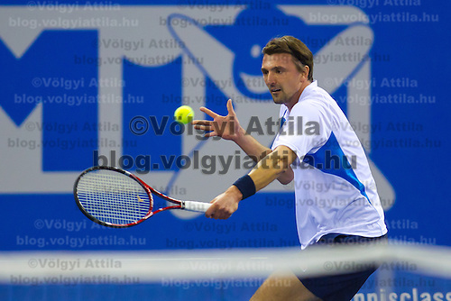 Goran Ivanisevic from Croatia plays an exhibition match against Yevgeny Kafelnikov (not pictured) from Russia during the Tennis Classics tournament in Budapest, Hungary on October 29, 2011. ATTILA VOLGYI