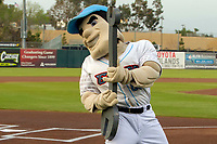 Inland Empire 66ers mascot Slick entertains fans prior to the game at San Manuel Stadium on April 5, 2018 in San Bernardino, California. (Donn Parris/Four Seam Images)