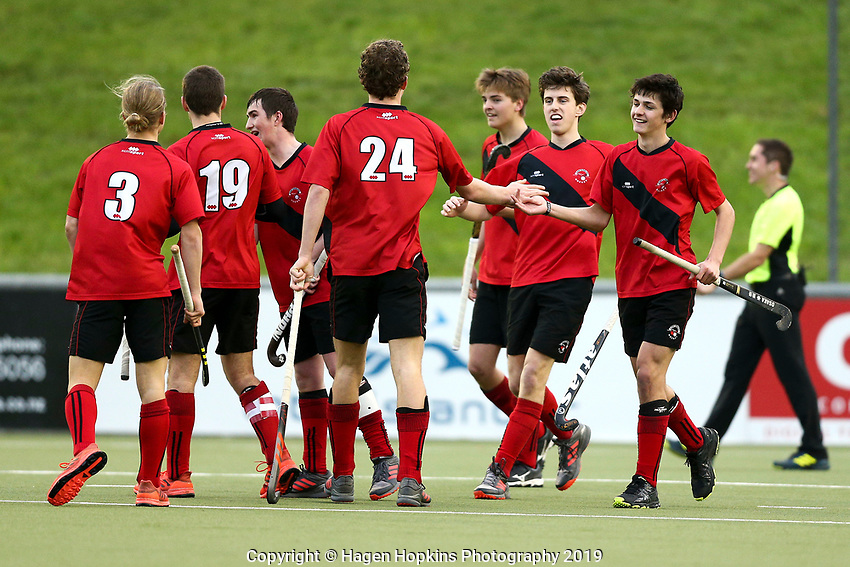 Canterbury v Central, men's final. 2019 National Hockey Under-18 Tournament at National Hockey Stadium in Wellington, New Zealand on Saturday, 13 July 2019. Photo: Hagen Hopkins / www.hagenhopkins.co.nz