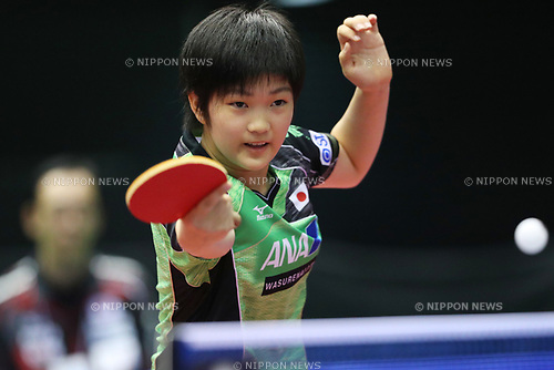 Miyu Kihara (JPN),<br /> JUNE 15, 2017 - Table Tennis : <br /> ITTF World Tour Japan Open 2017 <br /> Women's Singles <br /> at Tokyo Metropolitan Gymnasium, Tokyo, Japan. <br /> (Photo by YUTAKA/AFLO)