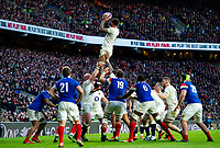 Courtney Lawes of England wins the ball at a lineout. Guinness Six Nations match between England and France on February 10, 2019 at Twickenham Stadium in London, England. Photo by: Patrick Khachfe / Onside Images