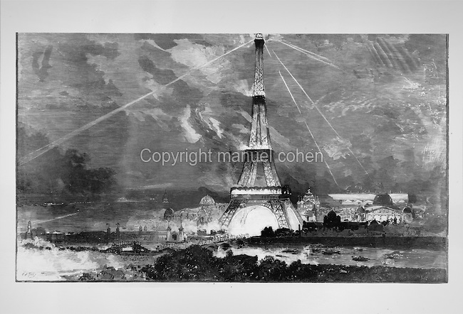 The newly erected Eiffel Tower lit up during the World Fair of 1889, painting. The Eiffel Tower was the symbol of the fair, serving as entrance arch to the main Champ de Mars site. Copyright © Collection Particuliere Tropmi / Manuel Cohen