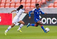 HOUSTON, TX - JANUARY 31: Melchie Dumonay #6 of Haiti sprints forward during a game between Haiti and Costa Rica at BBVA Stadium on January 31, 2020 in Houston, Texas.