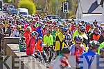 Cyclists prepare for the Kerry/Limerick charity cycle last Sunday morning in Athea.