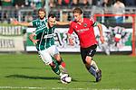 26.10.2019, Stadion Lohmühle, Luebeck, GER, Regionalliga Nord VFB Lübeck/Luebeck vs Hannover 96 II <br /> <br /> DFB REGULATIONS PROHIBIT ANY USE OF PHOTOGRAPHS AS IMAGE SEQUENCES AND/OR QUASI-VIDEO.<br /> <br /> im Bild / picture shows<br /> Patrick Hobsch (VfB Luebeck) im Laufduell gegen Niklas Tarnat (Hannover 96 II)<br /> <br /> Foto © nordphoto / Tauchnitz