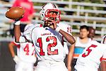 Palos Verdes, CA 09/27/13 - Chris Murray (Lawndale #12) in action during the Lawndale vs Palos Verdes Peninsula Varsity football game at Peninsula High School.