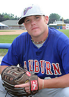 July 4, 2003:  Pitcher Brian Reed of the Auburn Doubledays, Class-A affiliate of the Toronto Blue Jays, during a game at Dwyer Stadium in Batavia, NY.  Photo by:  Mike Janes/Four Seam Images
