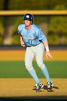 Colin Moran (18) of the North Carolina Tar Heels takes his lead off of first base against the Wake Forest Demon Deacons at Wake Forest Baseball Park on March 9, 2013 in Winston-Salem, North Carolina.  The Tar Heels defeated the Demon Deacons 20-6.  (Brian Westerholt/Four Seam Images)