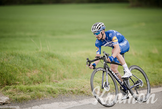 Julian ALAPHILIPPE (FRA/Deceuninck-Quick Step) chases back to the peloton in the 83rd La Flèche Wallonne 2019 (1.UWT)<br /> One day race from Ans to Mur de Huy (BEL/195km)<br /> <br /> ©kramon