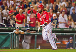 22 August 2015: Washington Nationals outfielder Jayson Werth prepares to dive home but is tagged out by Milwaukee Brewers catcher Jonathan Lucroy during the 4th inning at Nationals Park in Washington, DC. The Nationals defeated the Brewers 6-1 in the second game of their 3-game weekend series. Mandatory Credit: Ed Wolfstein Photo *** RAW (NEF) Image File Available ***