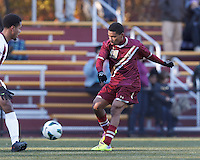 Boston College forward/midfielder Zeiko Lewis (19) passes the ball. Boston College (maroon) defeated Virginia Tech (Virginia Polytechnic Institute and State University) (white), 3-1, at Newton Campus Field, on November 3, 2013.