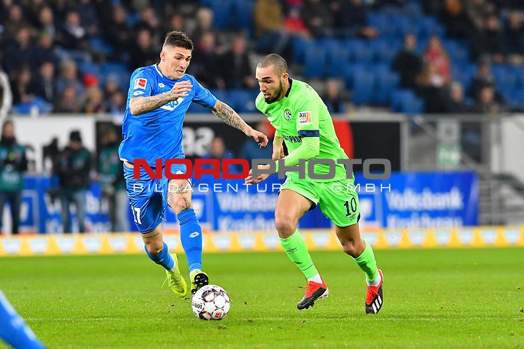 01.12.2018, wirsol Rhein-Neckar-Arena, Sinsheim, GER, 1 FBL, TSG 1899 Hoffenheim vs FC Schalke 04, <br /> <br /> DFL REGULATIONS PROHIBIT ANY USE OF PHOTOGRAPHS AS IMAGE SEQUENCES AND/OR QUASI-VIDEO.<br /> <br /> im Bild: Steven Zuber (TSG Hoffenheim #17) gegen Nabil Bentaleb (FC Schalke 04 #10)<br /> <br /> Foto © nordphoto / Fabisch