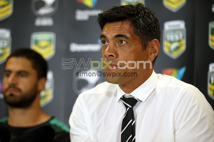Stephen Kearney at the press conference<br /> Trans Tasman NZRL Kiwis v Australia Test Match at Hunter Stadium, Newcastle, Australia. Friday 6 May 2016. Photo: Paul Seiser / www.photosport.nz / SWpix.com