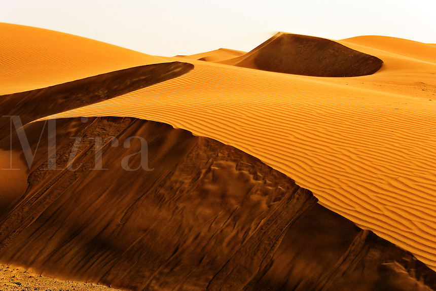 Wind erosion in the desert and sand blows down the face of the dunes. Dubai. United Arab Emirates.