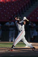 Brandon Bednar (19) of the San Jose Giants bats during a game against the High Desert Mavericks at Mavericks Stadium on June 14, 2015 in Adelanto, California. High Desert defeated San Jose, 7-5. (Larry Goren/Four Seam Images)