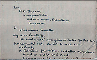 BNPS.co.uk (01202 558833)<br /> Pic:  IAA/BNPS<br /> <br /> A foreboding manuscript sent to Gandhi warning him of the dangers of religious fanatics six weeks before he was assassinated has emerged for sale for £20,000.<br /> <br /> One of the Independance movement leader's followers wrote to him on December 21, 1947, to express his fears about the 'fundamental evil of religious fanaticism'.<br /> <br /> But it appears Gandhi did not heed his concerns as he discarded the letter, turning it over to write a manuscript about the country's health crisis on the back.<br /> <br /> On January 30, 1948, he was murdered by Hindu nationalist Nathuram Godse who fired three bullets into his chest in the garden of Birla House in Delhi was he walked to a prayer meeting.