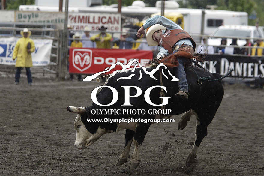 24 August 2008:  2006 World Champion bull rider Cody Hancock from Taylor, Arizona scored a 78 on the bull Kovorkian in the first round of the Dodge Extreme Bulls in Bremerton, Washington.