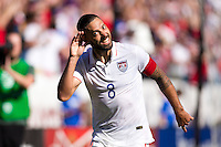 Carson, CA - Sunday, February 8, 2015 Clint Dempsey (8) of the USMNT holds his hand to his ear. The USMNT defeated Panama 2-0 during an international friendly at the StubHub Center.