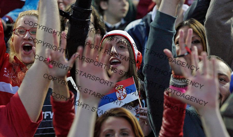 Navijaci supporters fan fans 1.6.2013. Final waterpolo game of the LEN Champions league between Jug Croatia Osiguranje and Crvena Zvezda at Banjica sports center in Belgrade, Serbia, saturday 1. June, 2013.   (credit: Pedja Milosavljevic  / thepedja@gmail.com / +381641260959)