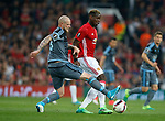 Paul Pogba of Manchester United in action with John Guidetti of Celta Vigo during the Europa League Semi Final 2nd Leg match at Old Trafford Stadium, Manchester. Picture date: May 11th 2017. Pic credit should read: Simon Bellis/Sportimage