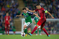 Northern Ireland's Corry Evans holds off the challenge from Czech Republic's Marek Suchy     <br /> <br /> <br /> Photographer Craig Mercer/CameraSport<br /> <br /> FIFA World Cup Qualifying - European Region - Group C - Northern Ireland v Czech Republic - Monday 4th September 2017 - Windsor Park - Belfast<br /> <br /> World Copyright &copy; 2017 CameraSport. All rights reserved. 43 Linden Ave. Countesthorpe. Leicester. England. LE8 5PG - Tel: +44 (0) 116 277 4147 - admin@camerasport.com - www.camerasport.com
